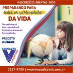 Inscrições abertas – Processo de admissão 2020
